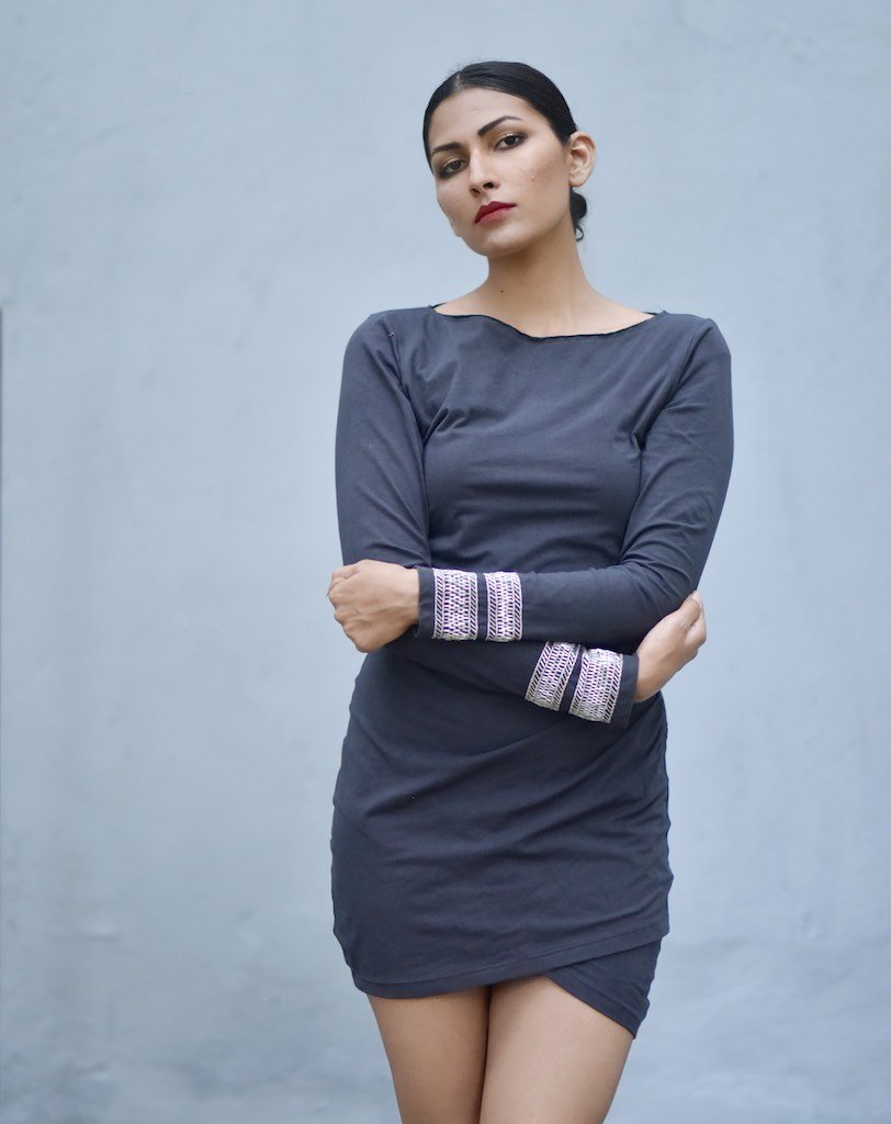 Delhi, Organic Comfortable Fit Jersey Dress with Lush Embroidery at Wrist - shopkaito