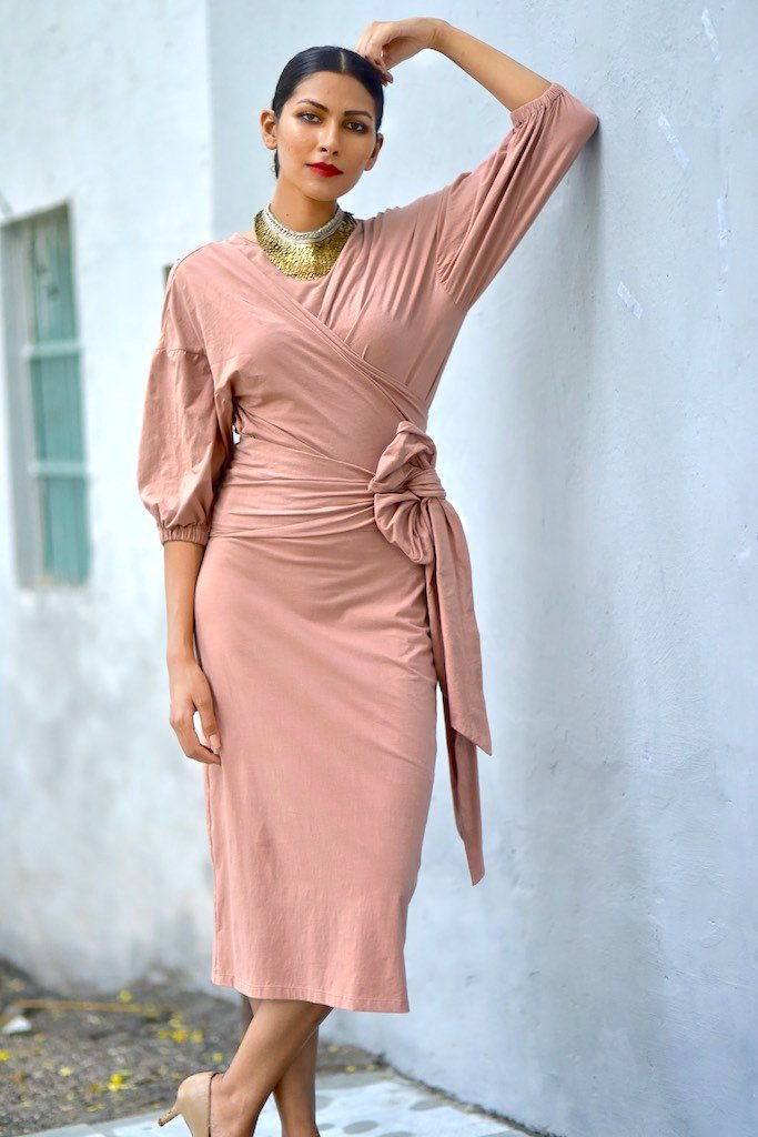 Lagos, Lagos, Organic Cotton Long Dress with Wrap Blouse in Dusty Rose - shopkaito