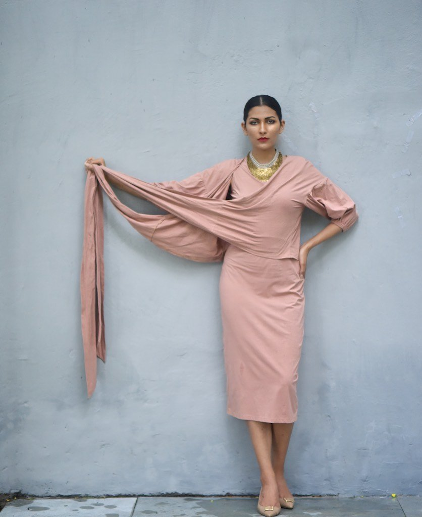 Lagos, Lagos, Organic Cotton Long Dress with Wrap Blouse in Dusty Rose - kinchecom