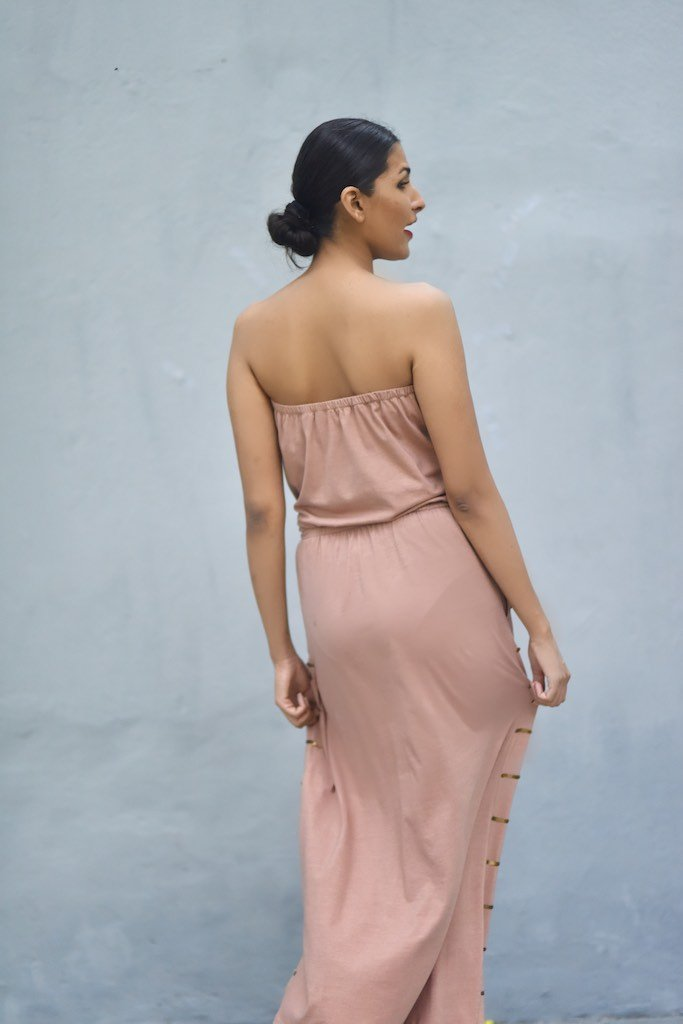 Warsaw, Organic Cotton Bare Shoulders Maxi Dress with Sequins in Dusty Rose Color - kinchecom