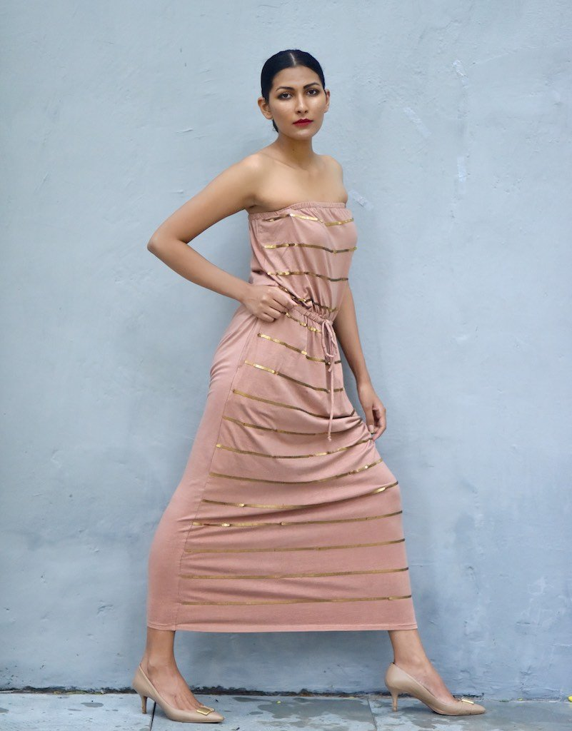 Warsaw, Organic Cotton Bare Shoulders Maxi Dress with Sequins in Dusty Rose Color - shopkaito