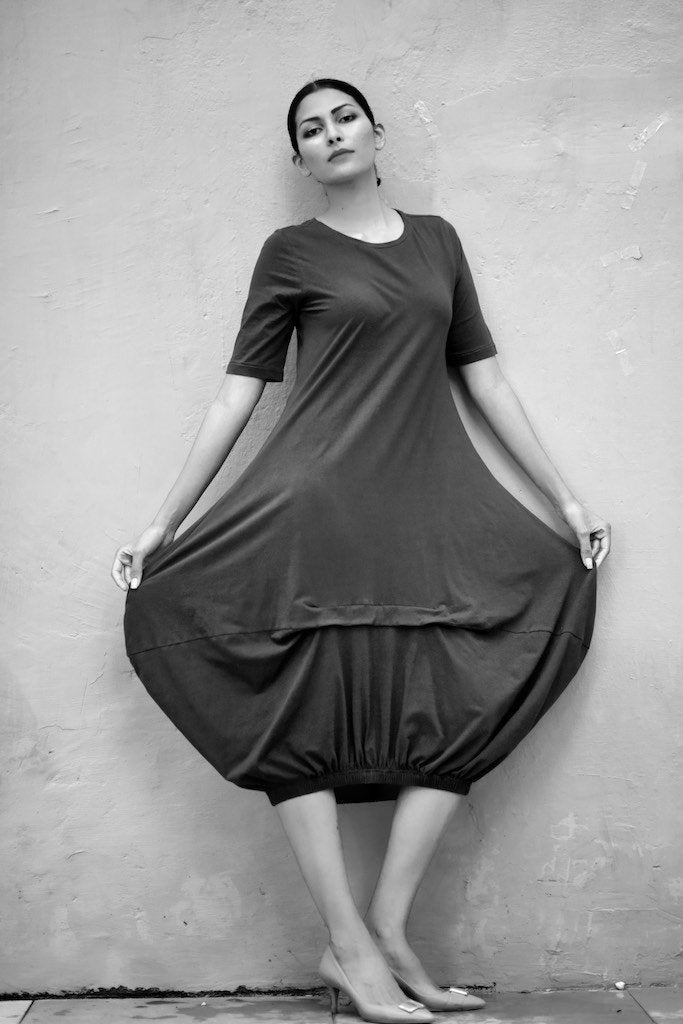 Eket, Loose Fit, Asymmetrical Cocoon Dress, Organic Fabric - kinchecom