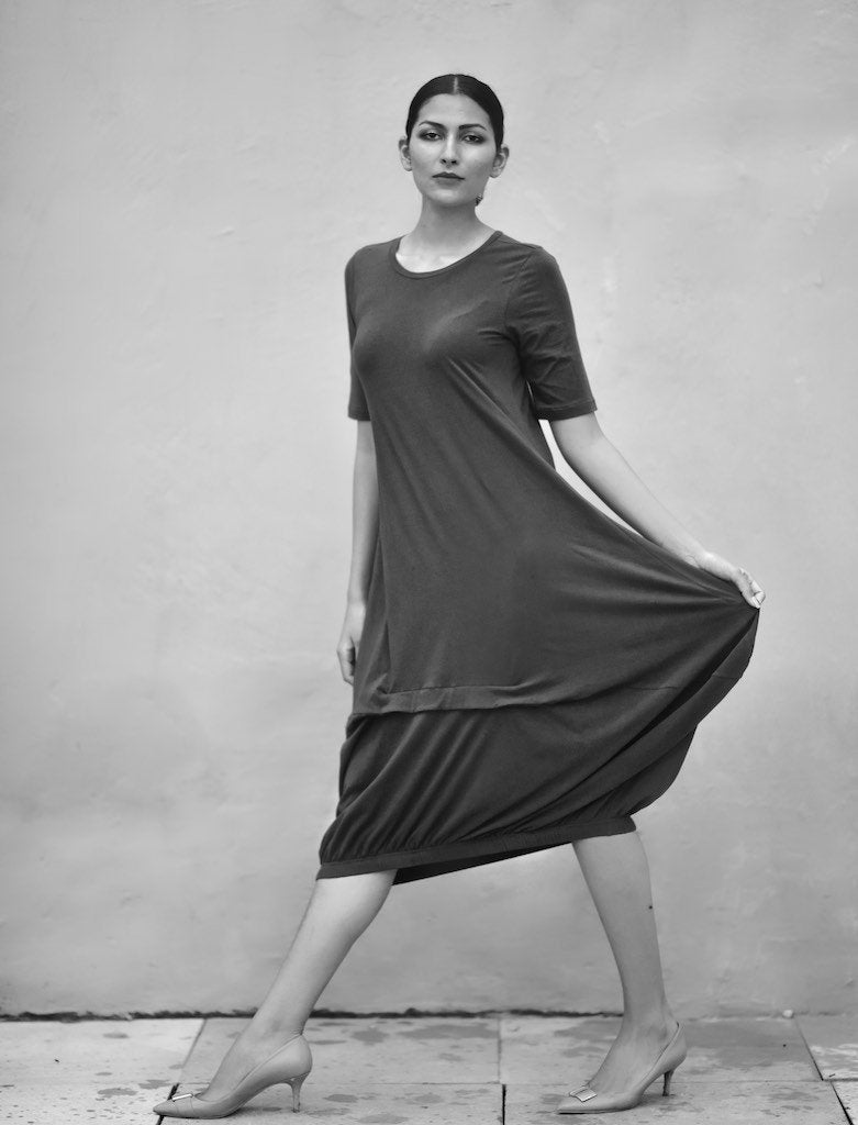 Eket, Loose Fit, Asymmetrical Cocoon Dress, Organic Fabric - shopkaito