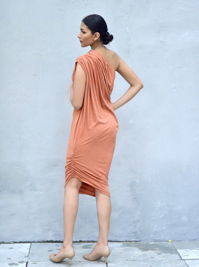 Salvador, Cold Shoulder Organic Cotton Lycra Drape Dress, Rust Color - kinchecom