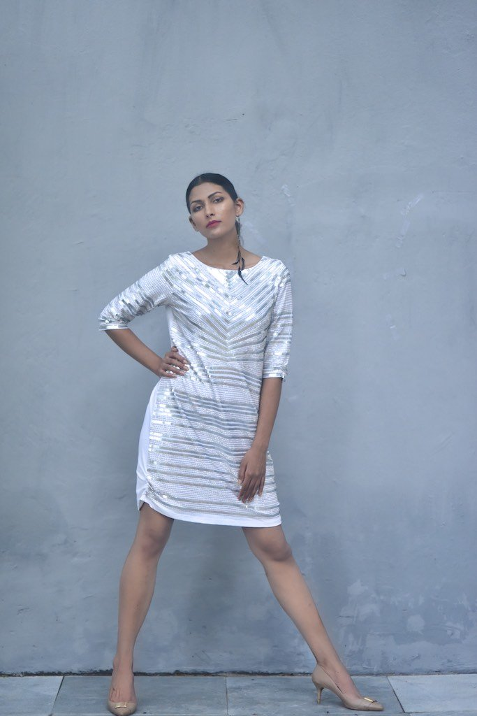 Malta, Sustainably made Hand Embroidered Sequins Dress in White - shopkaito