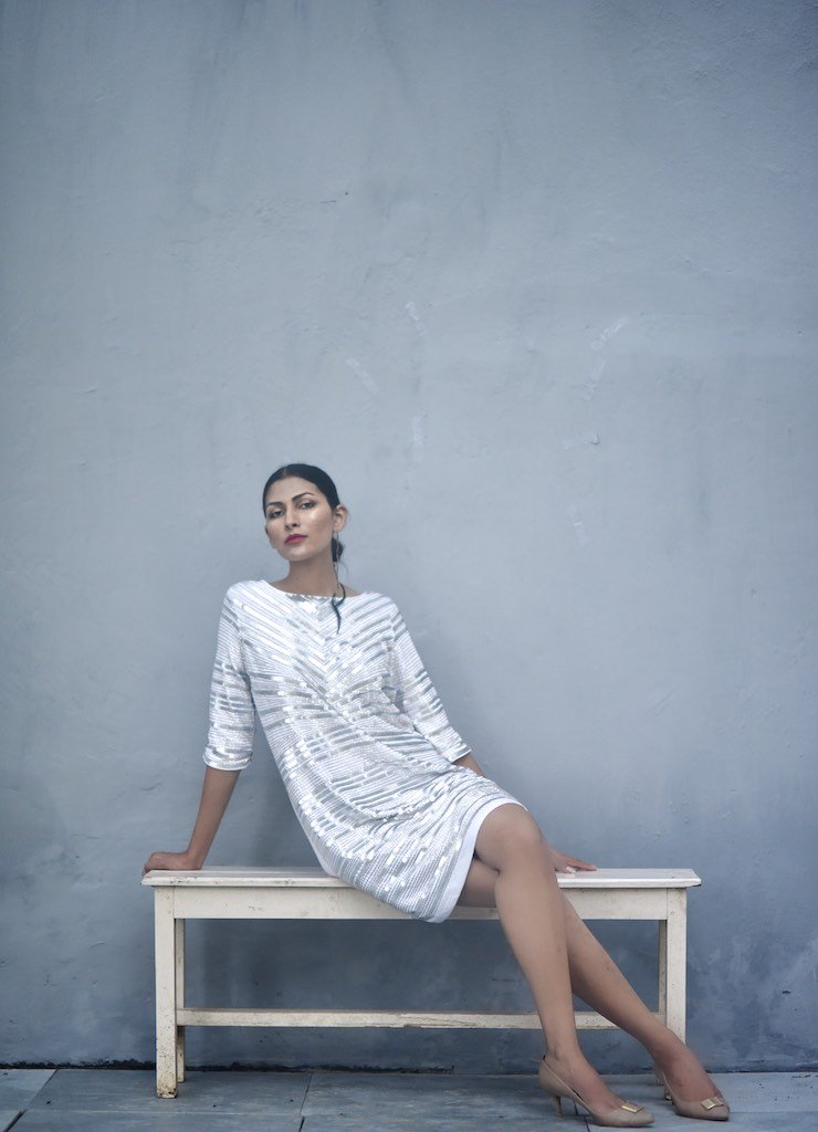Malta, Sustainably made Hand Embroidered Sequins Dress in White - kinchecom