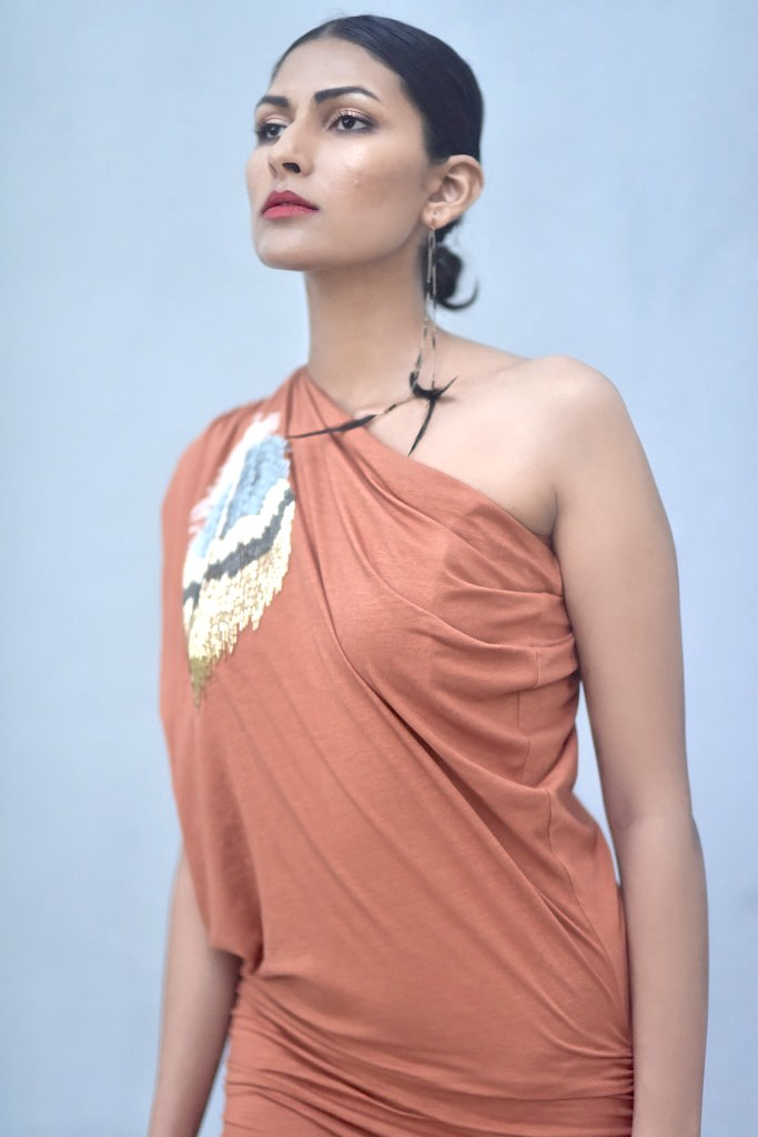 Syria, Rust Color Organic Cotton Lycra, Cold Shoulder Embroidered Evening Dress - shopkaito