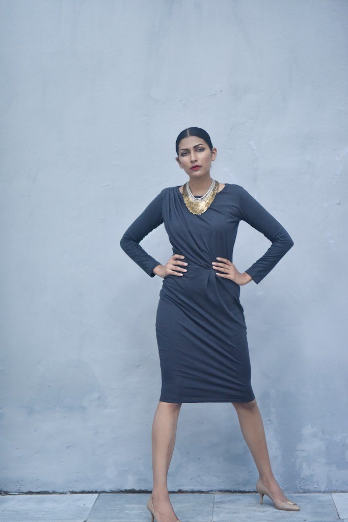 Benaras, Cotton Jersey Short Dress with Faux Wrap at Front in Grey - shopkaito