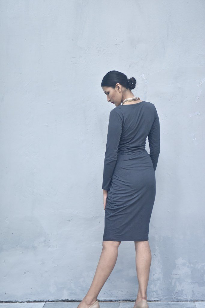 Benaras, Cotton Jersey Short Dress with Faux Wrap at Front in Grey - kinchecom