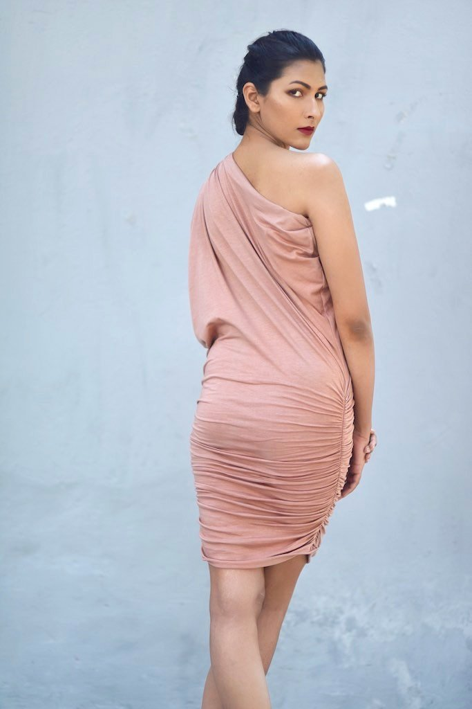 Syria, Dusty Rose Organic Cotton Lycra, Cold Shoulder Embroidered Evening Dress - shopkaito