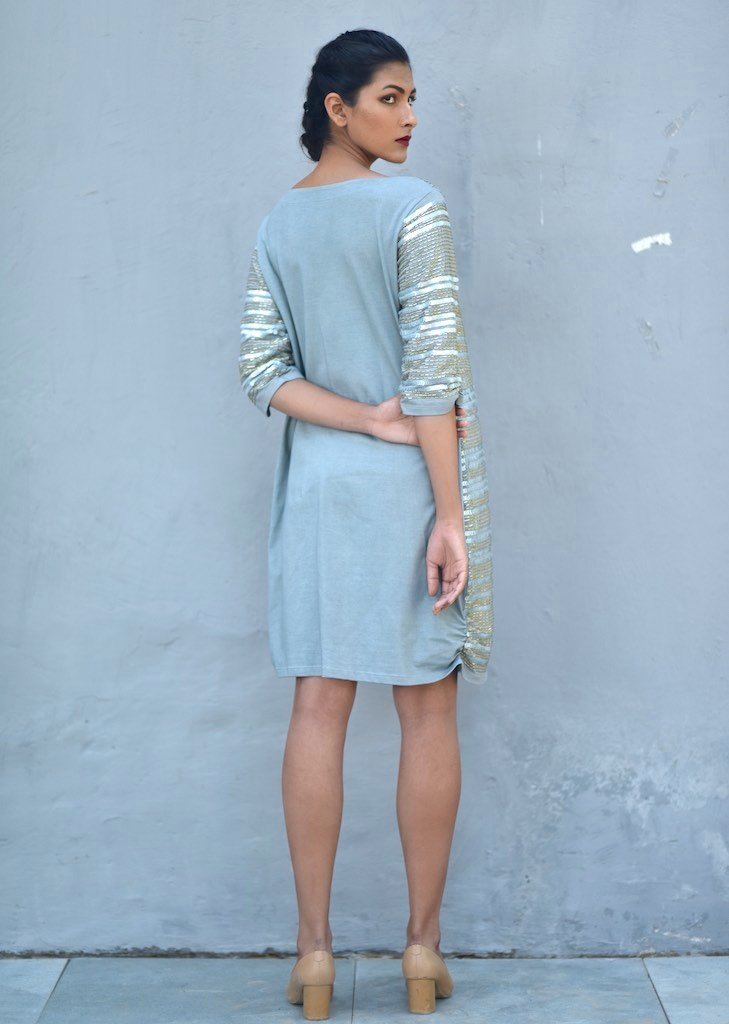Malta, Sustainably made Hand Embroidered Sequins Dress in Dusty Blue - shopkaito