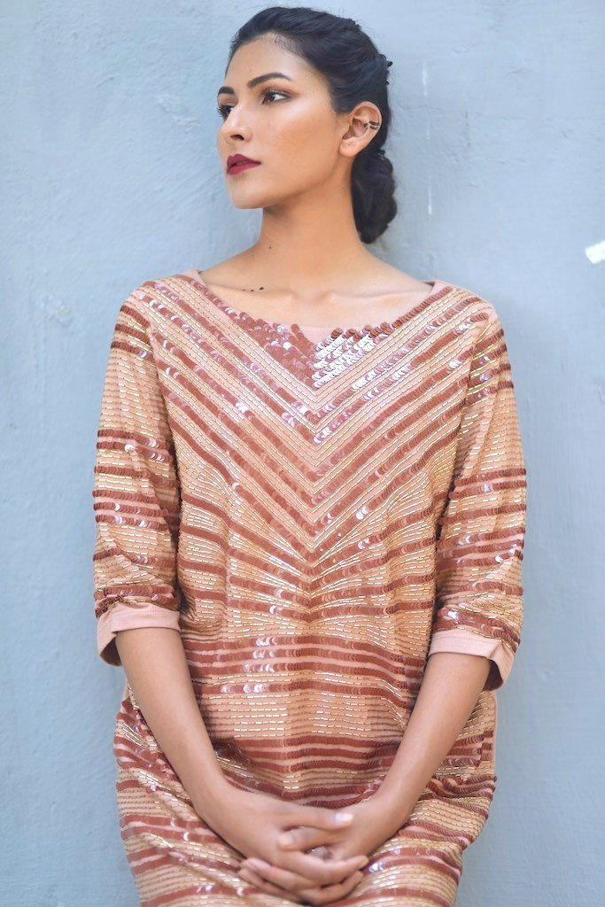 Malta, Luxury Sequin Dress in Dusty Rose Color, Handmade - shopkaito