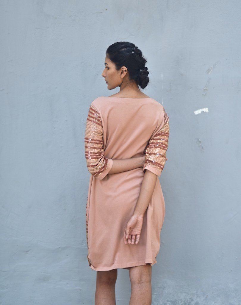 Malta, Luxury Sequin Dress in Dusty Rose Color, Handmade - kinchecom