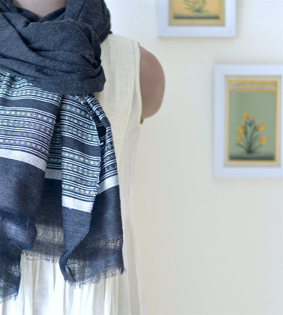 Dhori, Hand Made Pure Wool Shawl from Gujarat, One of a Kind - kinchecom