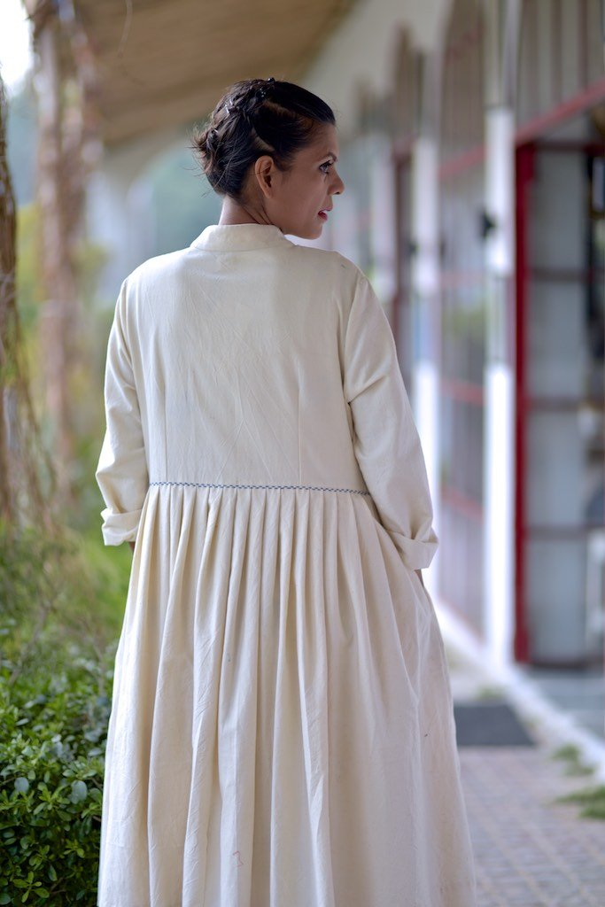 Kabul Handmade Loose Fit Long Coat with Corum Plain Frock Dress in Size Medium - kinchecom