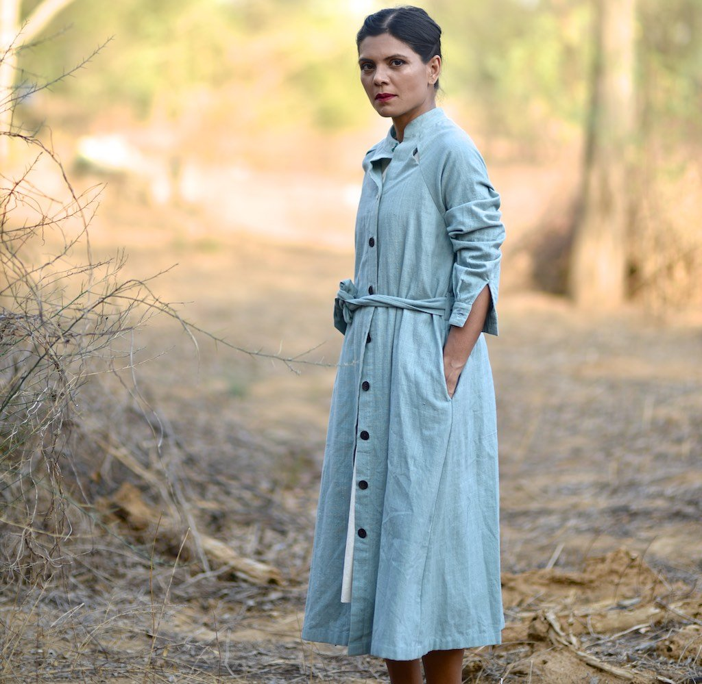 Small ~ Eloy, Pure Handloom Khadi Front Open Jacket with Shoulder Slits - kinchecom
