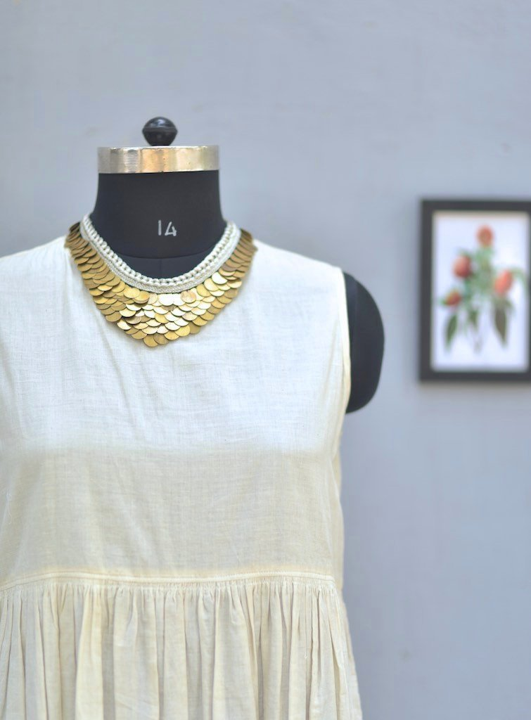 Zagreb, Handmade Pure Brass and Zari Necklace - kinchecom
