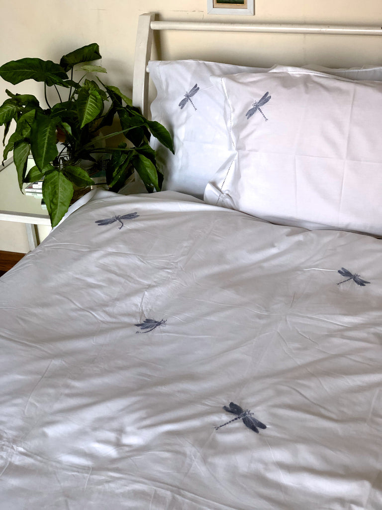 Hand Embroidered Grey Dragonfly on White Cotton Duvet Cover Queen Size