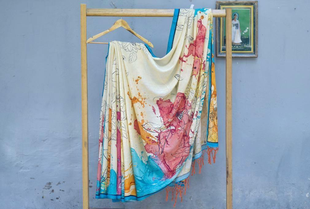 Mekong, Organic Linen Saree in beautiful abstract print pattern - kinchecom