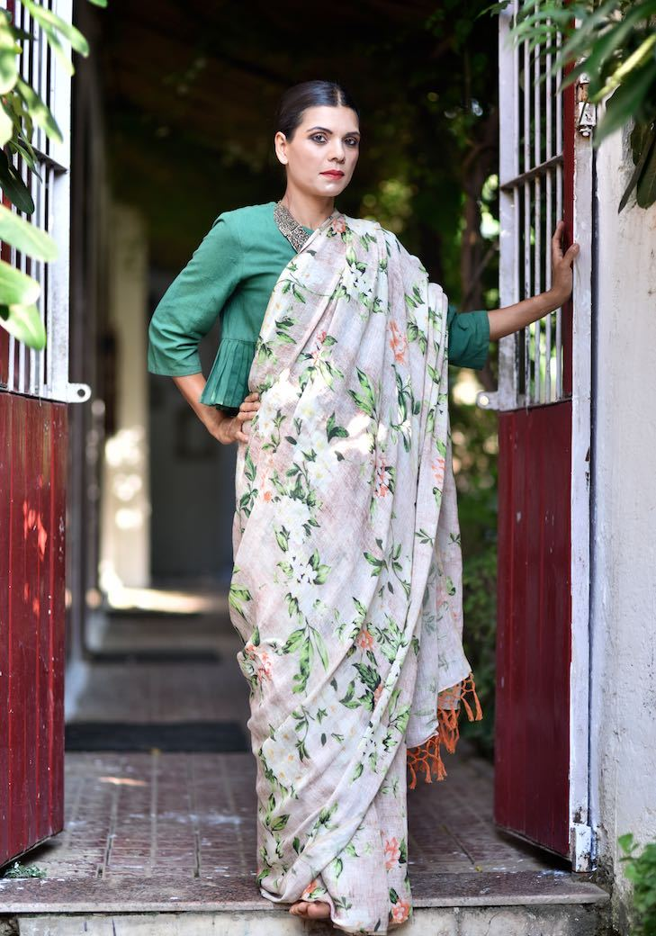 Pench, Organic Linen Saree with Floral Print and Tassels - kinchecom