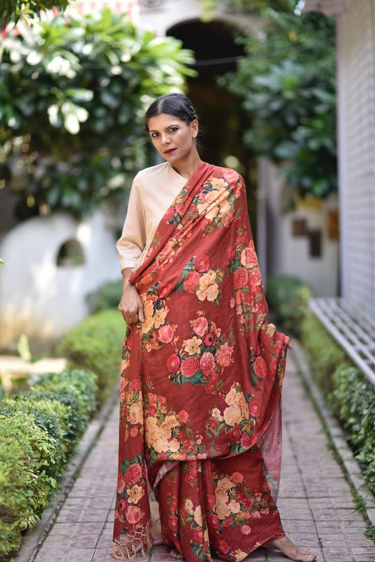 Saltoro, Organic Linen Saree in a Beautiful Deep Red Color with contrast Floral Print - shopkaito