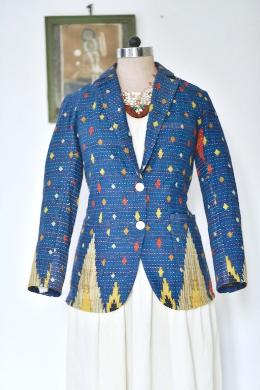 Quincey,Small, Boyfriend Blazer, Jacket Made with Vintage Kantha Fabric - kinchecom