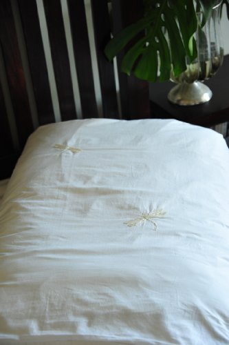 Hand Embroidered Beige Dragonfly, Pure Cotton Duvet Cover Queen Size 98X92""