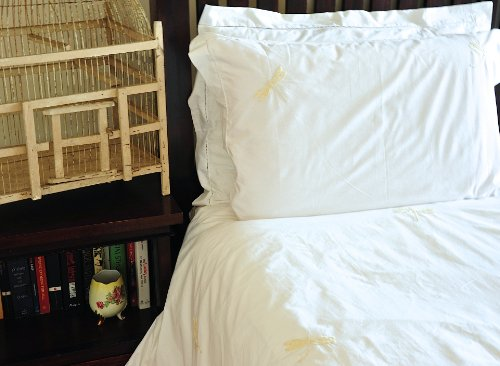 "Hand Embroidered Beige Dragonfly, Pure Cotton Duvet Cover Queen Size 98X92"" - kinchecom"
