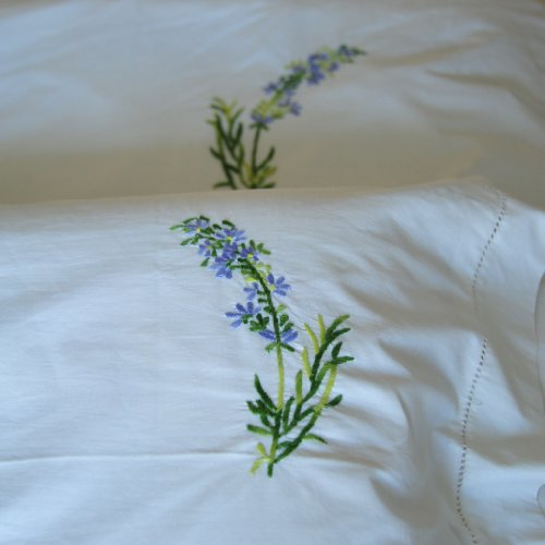 Hand Embroidered Lavender Flower Duvet Cover Queen Size 98x92""