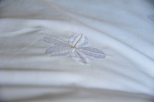 White Daisies Embroidered Duvet Cover Queen Size 98X92""