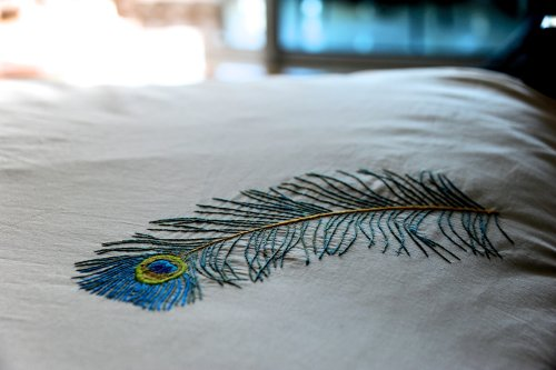 "Peacock feather,Hand Embroidered Pure Cotton Duvet Cover Queen Size 98x92"" - kinchecom"