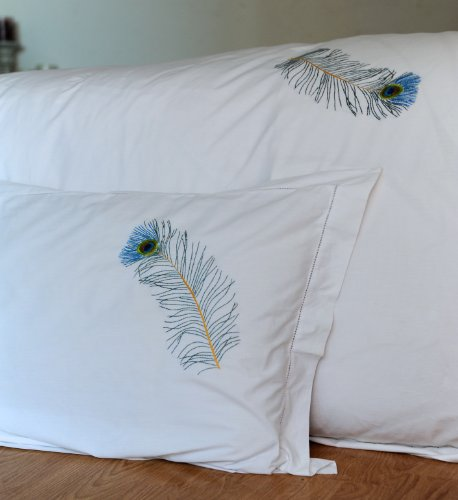 Peacock feather,Hand Embroidered Pure Cotton Duvet Cover King Size 102x98""