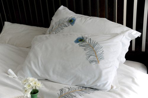 Peacock feather,Hand Embroidered Pure Cotton Duvet Cover Queen Size 98x92""