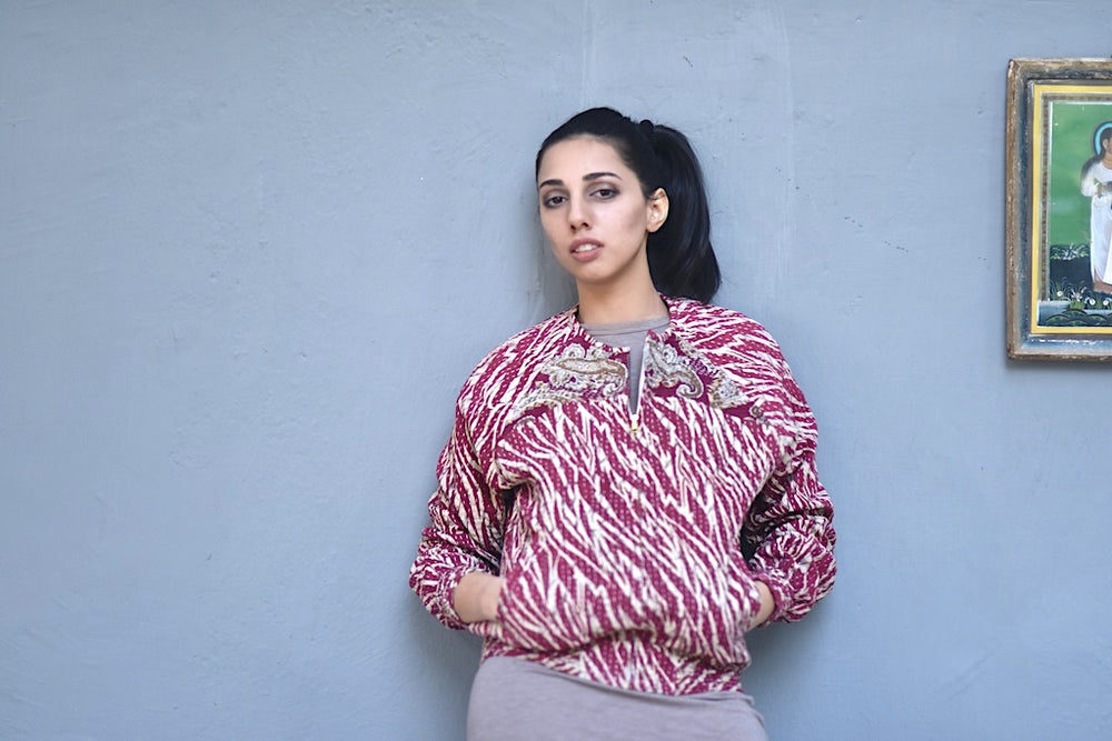 O'hara, Size Small, kinche Contrast Print Pink  Floral, One of a Kind Bomber Jacket - kinchecom