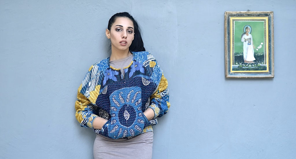 Anastasie, Size Large, Vintage, Hand Crafted Bomber Jacket in Blue, One of a kind - kinchecom