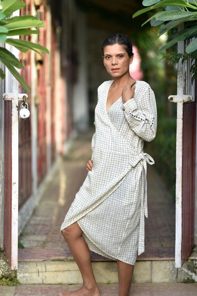 M, Vancouver/Organic Kala Cotton Wrap Cocoon Dress/Hand Embroidered at sleeves