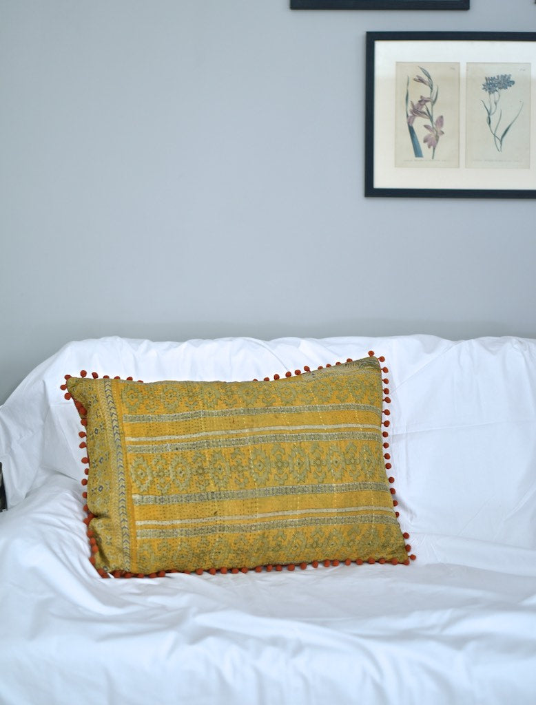 Kantha Cushion Covers with pom Poms