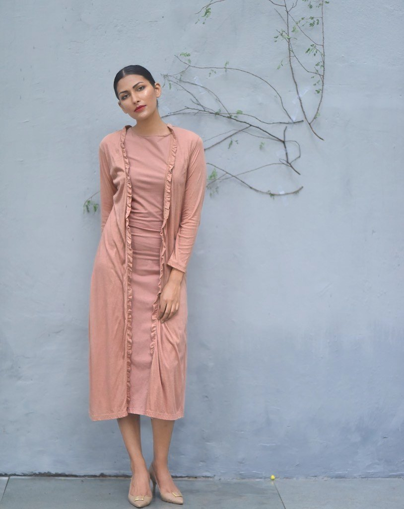 Taipei, Organic Cotton Jersey Long Dress with Long Shrug, Loose Fit - shopkaito