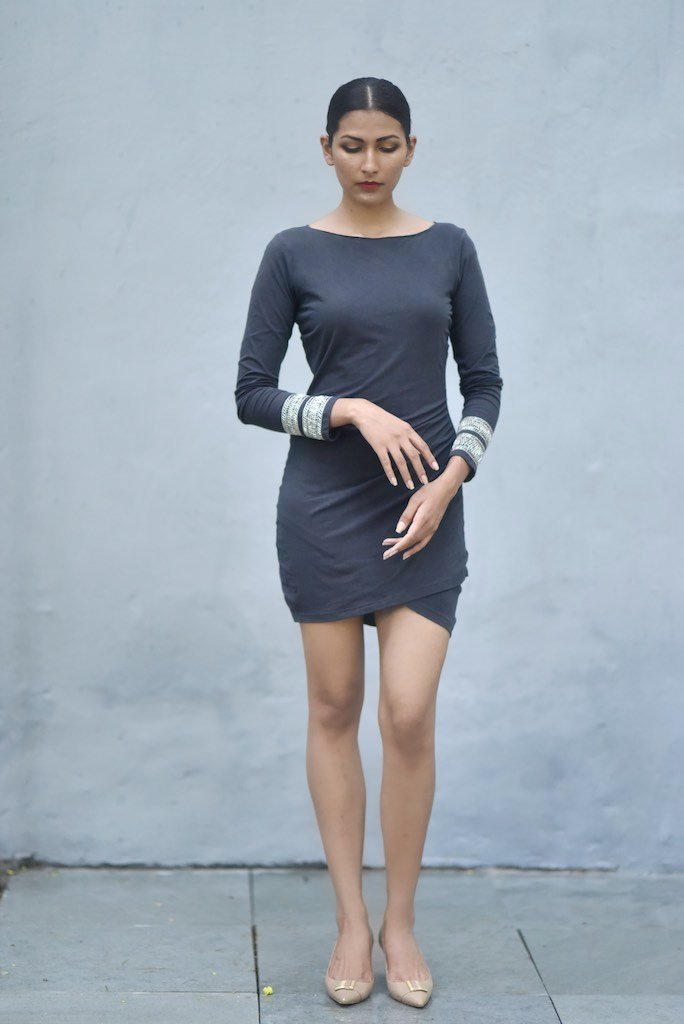 Delhi, Organic Comfortable Fit Jersey Dress with Lush Embroidery at Wrist - kinchecom