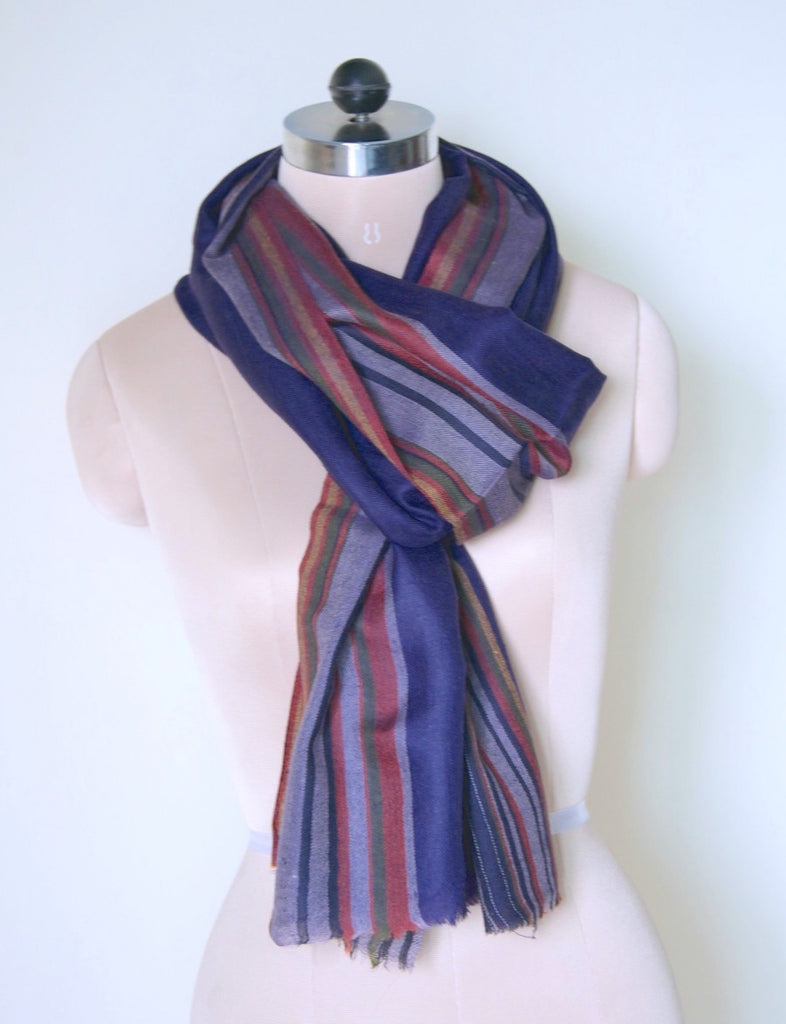 Durham, Hand Made Pure Pashmina Stole in Navy with Contrast Stripes - kinchecom