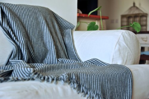 Artemis, Knitted Pure Lambs Wool Throw in Grey & Black Stripes 50X70 inches - kinchecom