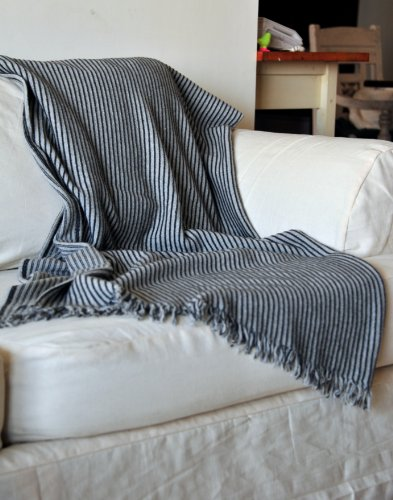 Artemis, Knitted Pure Lambs Wool Throw in Grey & Black Stripes 50X70 inches