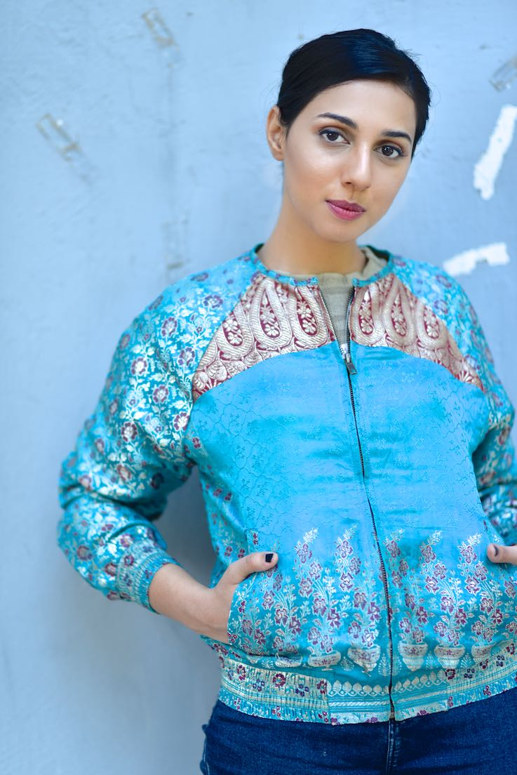 Lama Tsultrim Silk Brocade Bomber Jacket, Handmade, Green and Pink Silk Bomber Jacket, Luxury Clothing
