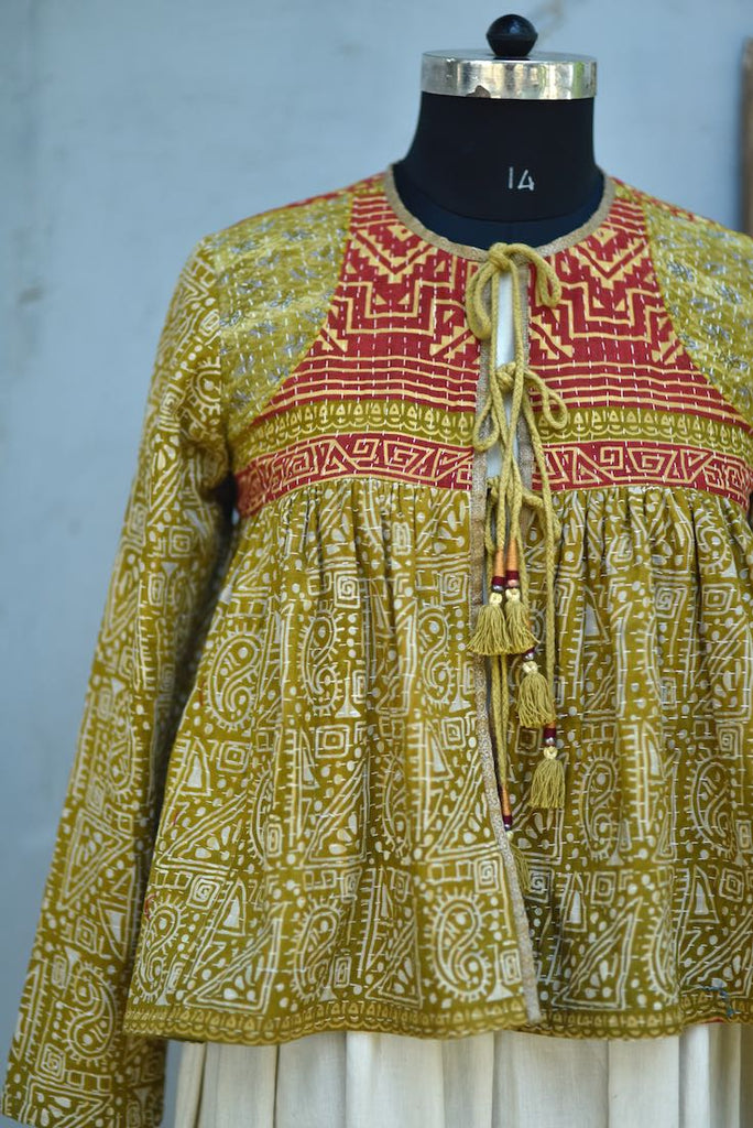 Large, Natasha, Hand Crafted & Hand Embroidered Kediya Jacket, One of a Kind - kinchecom