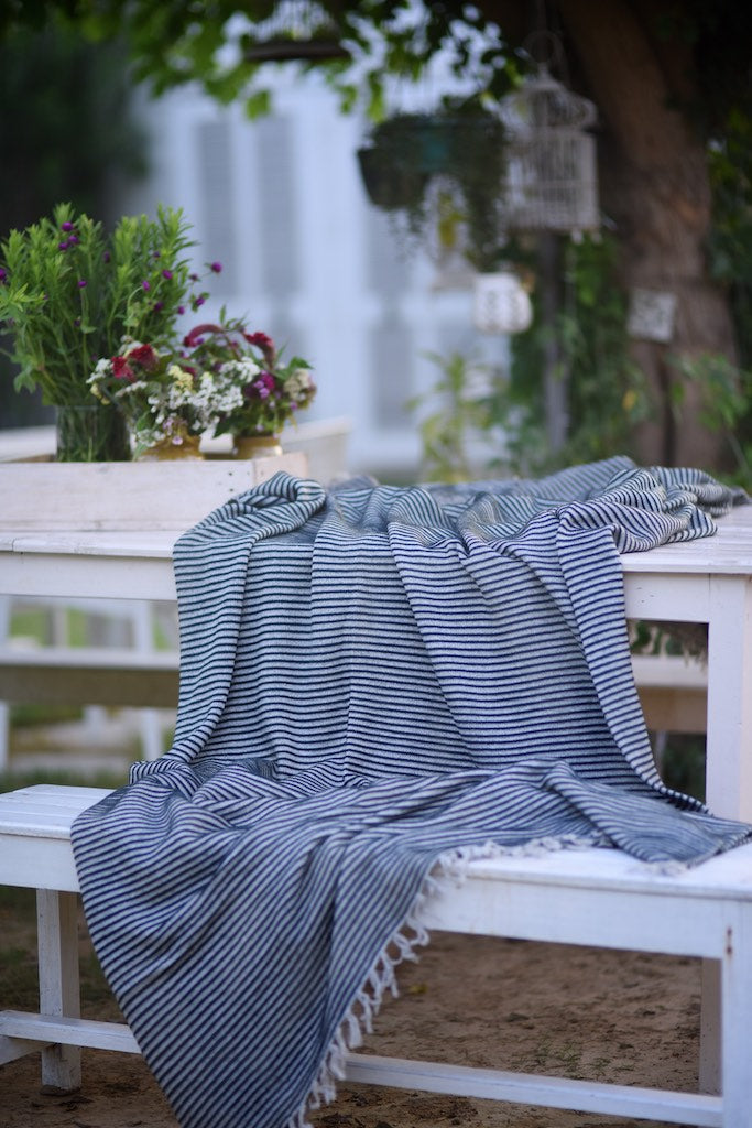 Electra, Pure Lambs Wool & Cotton, Grey with Black Stripes Blanket 102X92 Inches