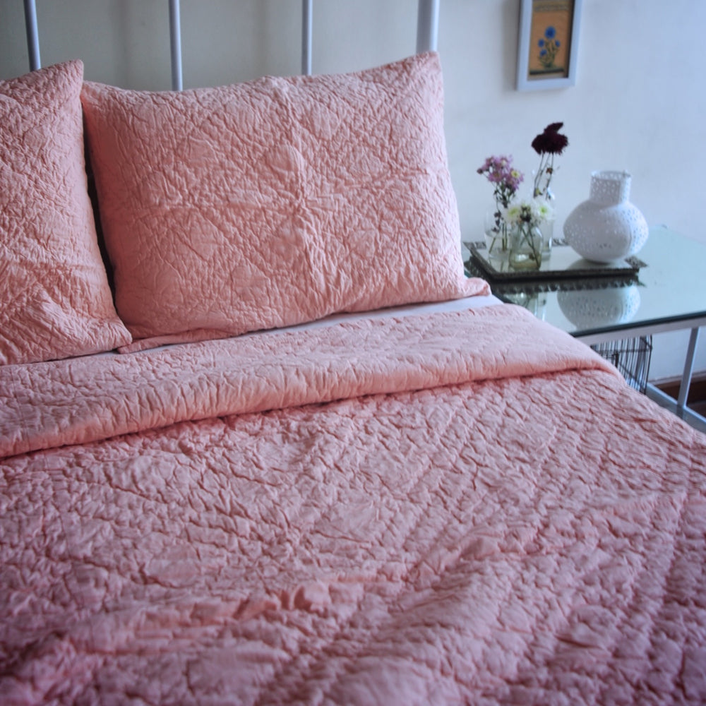 Nottingham, Hand Quilted Diamond Pattern Dirty Pink Quilt 98x92 Inches, Queen Size