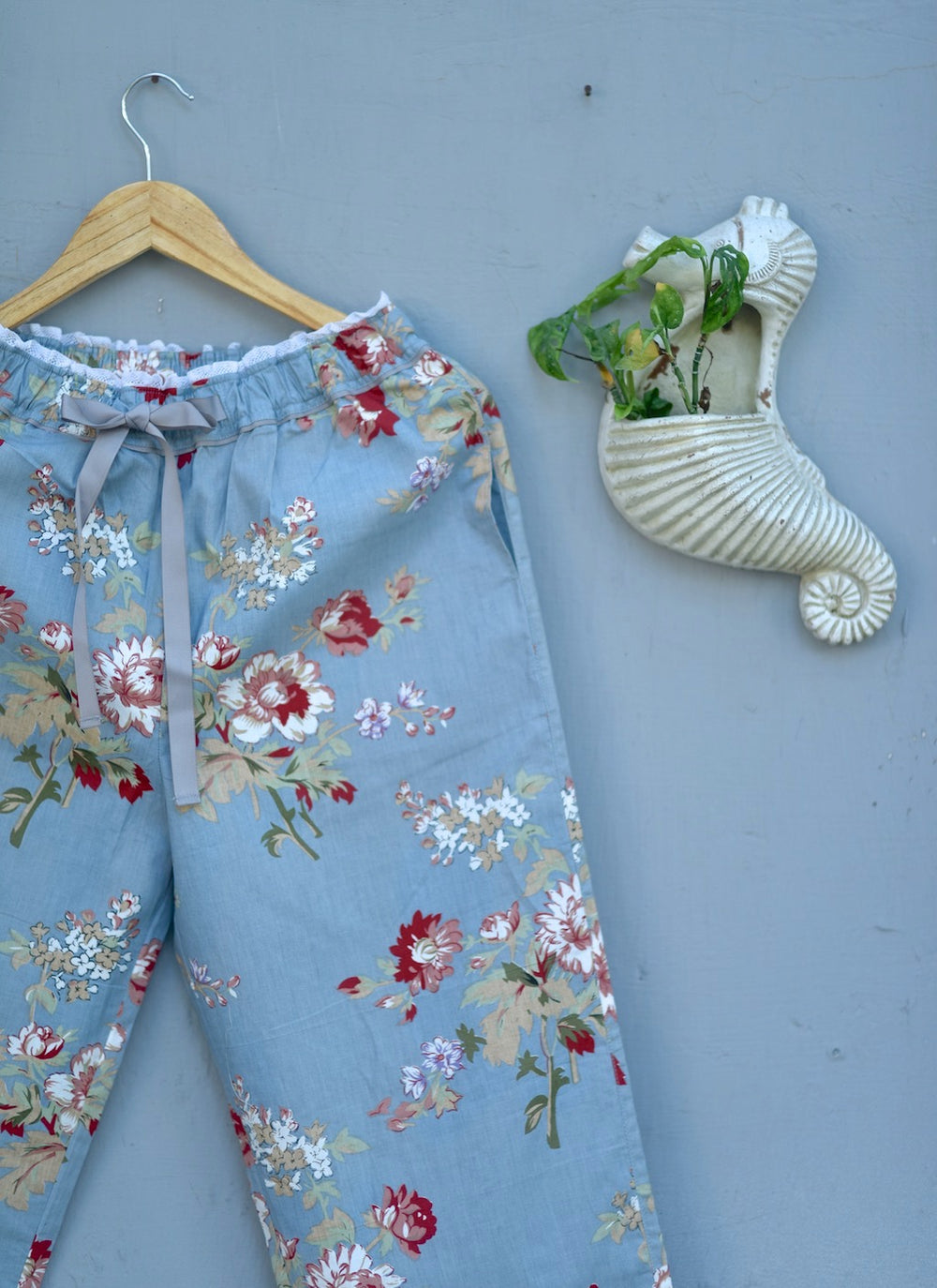 Kiri Handmade Grey and Maroon Floral Print jammies with lace Finishing