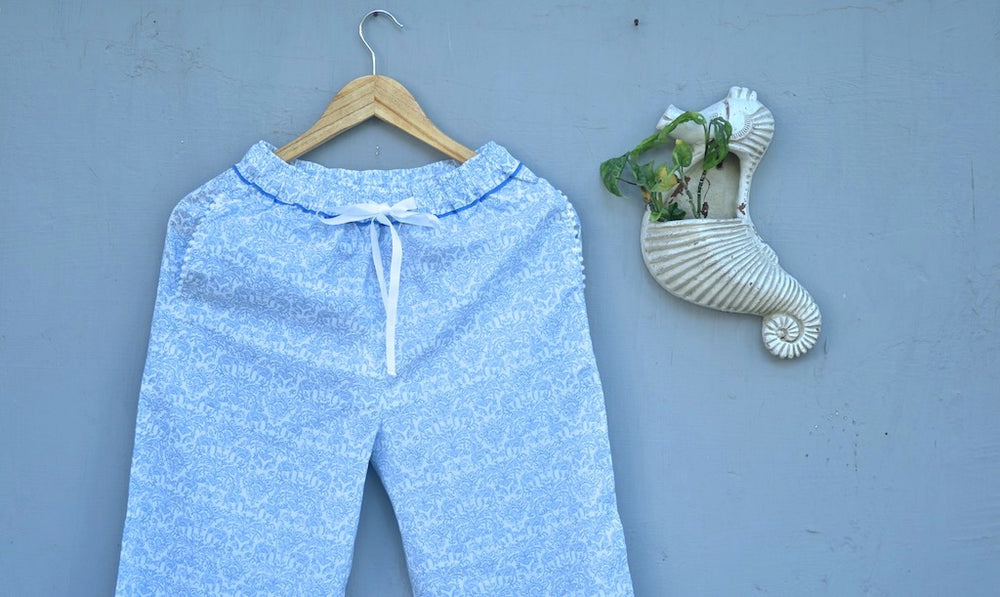 Ila, White and Blue Floral Print jammies with Pom Poms