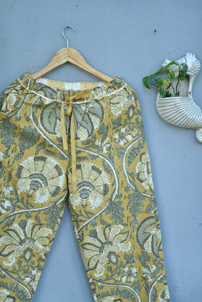 Ira, Pure Cotton Yellow Floral Print Pajama - kinchecom