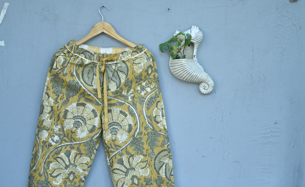 Ira, Pure Cotton Yellow Floral Print Pajama